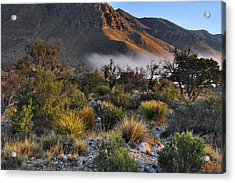 Fog At Sunrise - Guadalupe Mountains Acrylic Print by Stephen  Vecchiotti