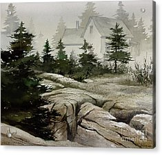 Acrylic Print featuring the painting Fog At The Coast by James Williamson