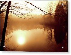 Fog On Shelly Lake - 2 Acrylic Print by Alan Hausenflock