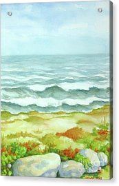 Acrylic Print featuring the painting Fog Over Cocoa Beach by Inese Poga