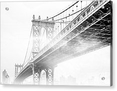 Fog Under The Manhattan Bw Acrylic Print by Az Jackson