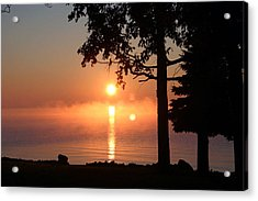 Acrylic Print featuring the photograph Fog With A Sunrise On Big Bago by Jack G  Brauer