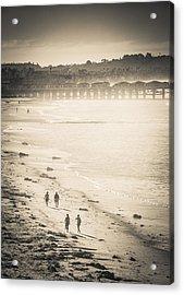 Acrylic Print featuring the photograph Foggy Beach Walk by T Brian Jones