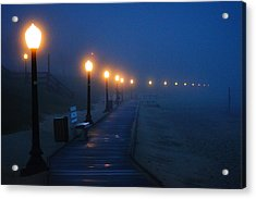 Foggy Boardwalk Blues Acrylic Print by Bill Pevlor