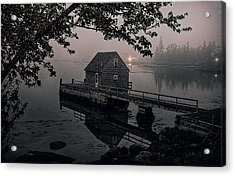 Foggy Cove And Shanty Acrylic Print by Marty Saccone