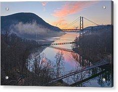Foggy Dawn At Three Bridges Acrylic Print