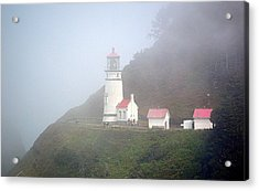 Acrylic Print featuring the photograph Foggy Day At The Heceta Head Lighthouse by AJ Schibig