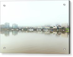Foggy Day On Portland Downtown Waterfront Acrylic Print