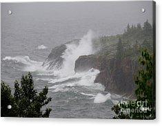 Foggy Day Waves Acrylic Print