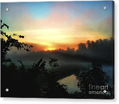 Foggy Edges Sunrise Acrylic Print