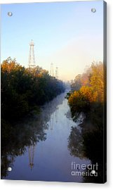 Foggy Fall Morning On The Sabine River Acrylic Print by Kathy  White