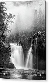 Foggy Falls Monochrome Acrylic Print by Darren White