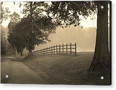 Foggy Fence Line Acrylic Print