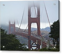 Foggy Golden Gate Acrylic Print by Margaret Brooks