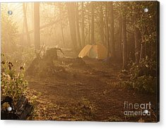 Acrylic Print featuring the photograph Foggy Morning At The Campsite by Larry Ricker