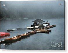 Foggy Morning At The Lake  Acrylic Print by Judy Palkimas