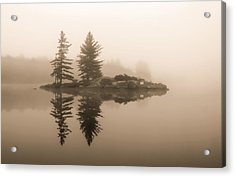 Foggy Morning Caution Acrylic Print