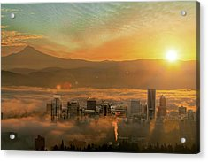Foggy Morning Over Portland Cityscape During Sunrise Acrylic Print by David Gn
