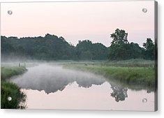 Foggy Morning Reflections Acrylic Print by Allan Levin