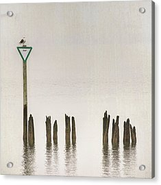Acrylic Print featuring the photograph Foggy Morning Texture Keyport Harbor by Gary Slawsky