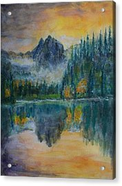Foggy Mountain Lake Acrylic Print by David Frankel