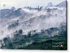 Foggy Mountain Of Sa Pa In Vietnam Acrylic Print