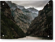 Foggy Mountains Over Neretva Gorge Acrylic Print