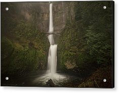 Foggy Multnomah Falls Acrylic Print