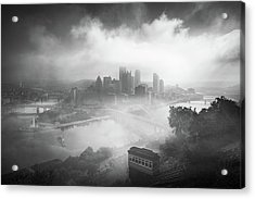 Acrylic Print featuring the photograph Foggy Pittsburgh  by Emmanuel Panagiotakis