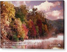 Foggy Price Lake - Autumn In The Blue Ridge Ap Acrylic Print by Dan Carmichael