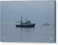 Foggy Start To The Day Penobscot Bay Maine Acrylic Print by Brian M Lumley