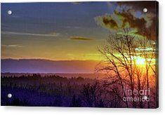 Foggy Sunset Acrylic Print by Victor K
