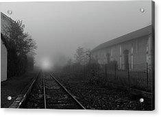 Foggy Train Tracks Acrylic Print