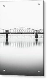 Foggy Winter Mood At Vltava River. Reflection Of Bridges In Water. Black And White Atmosphere, Prague, Czech Republic Acrylic Print