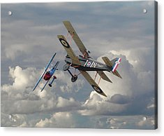 Fokker Dvll And Se5 Head To Head Acrylic Print by Pat Speirs
