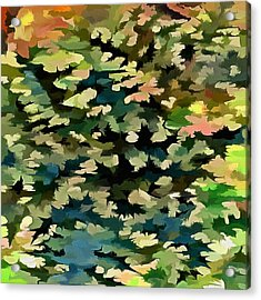 Foliage Abstract In Green, Peach And Phthalo Blue Acrylic Print