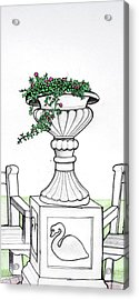 Acrylic Print featuring the drawing Foliage Fountain by Mary Ellen Frazee