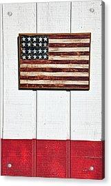 Folk Art American Flag On Wooden Wall Acrylic Print by Garry Gay