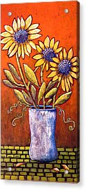 Folk Art Sunflowers Acrylic Print