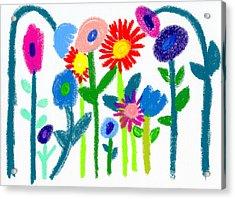 Acrylic Print featuring the pastel Folk Garden by Bee-Bee Deigner