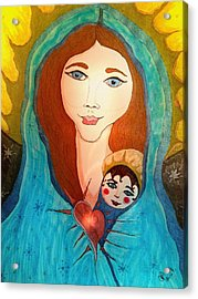 Folk Mother And Child Acrylic Print