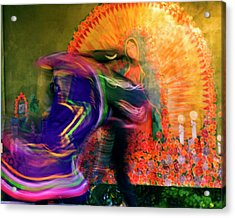 Acrylic Print featuring the photograph Folklorico Abstract Mexican Dancers by Gigi Ebert