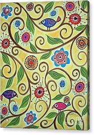 Folksy Branch Birds Acrylic Print