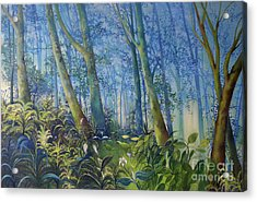 Follow Me Oil Painting Of A Magic Forest Acrylic Print by Maja Sokolowska