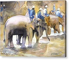 Acrylic Print featuring the painting Follow The Leader by Yolanda Koh