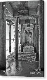 Acrylic Print featuring the photograph Follow The Lines Under Huntington Beach Pier by Ana V Ramirez