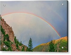 Follow The Rainbow To The Majestic Rockies Of Colorado.  Acrylic Print by Bijan Pirnia