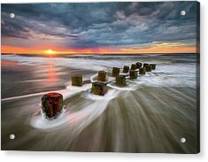 Folly Beach Charleston Sc South Carolina Sunrise Seascape Acrylic Print