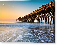 Folly Beach Pier Charleston Sc Coast Atlantic Ocean Pastel Sunrise Acrylic Print