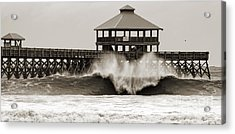 Folly Beach Pier Hurricane Irene 2011 Acrylic Print